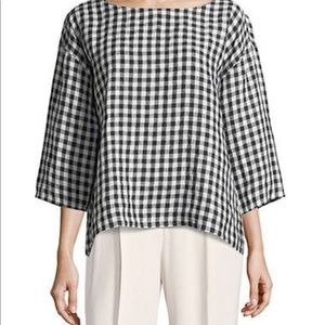 Eileen Fisher Black gingham linen top sz medium